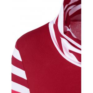 Cowl Neck Drawstring Striped Sleeve Tee - RED AND WHITE M