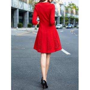 Long Sleeve Openwork A Line Cocktail Dress - RED S