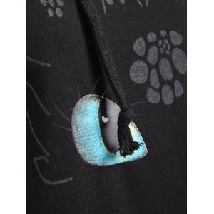 Plus Size Cartoon Character Graphic Hoodie - BLACK 4XL
