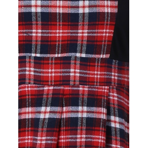 Scottish Plaid Patch Design Long Sleeve Vintage Dress - RED WITH BLACK 2XL