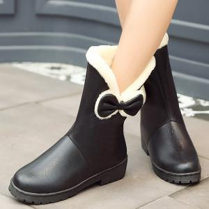 Fuzzy Bowknot PU Leather Short Boots -