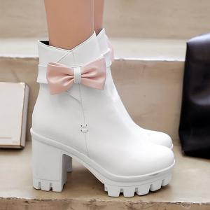 Bow Chunky Heel Short Boots - WHITE 39