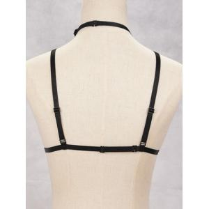 Elastic Harness Bra Bondage Body Jewelry - BLACK