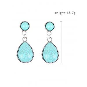 Bohemian Artificial Turquoise Water Drop Earrings - WINDSOR BLUE
