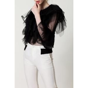See-Through Bowknot Blouse - BLACK S