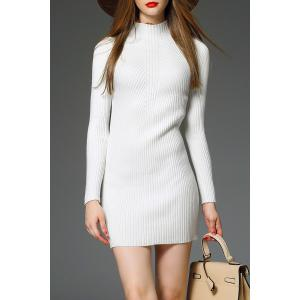 Mock Neck Ribbed Mini robe pull