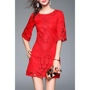 Jacquard Crochet Openwork Mini Dress