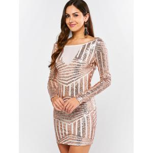 Low Back Sequin Long Sleeve Bodycon Mini Dress - GOLD AND WHITE S