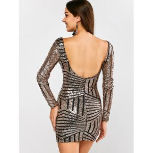 Low Back Sequin Long Sleeve Bodycon Mini Dress - BLACK AND GOLDEN XL