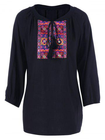 Chic Tie Front Embroidery Peasant Blouse