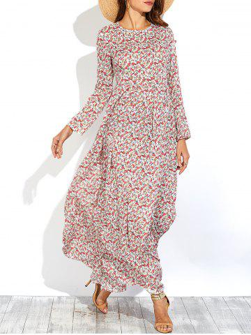 Online Long Sleeve Tiny Floral Print Maxi Dress RED M