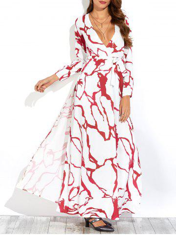 Outfit Long Printed Low Cut A Line Slit Casual Maxi Dress WHITE XL