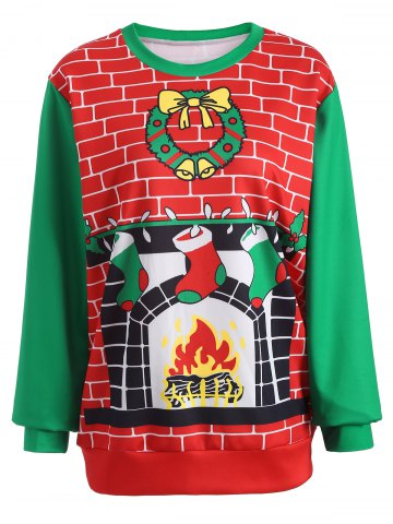 New 3D Christmas Print Color Block Sweatshirt RED/GREEN ONE SIZE