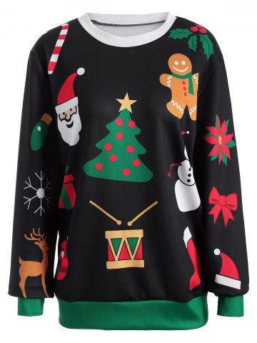 Trendy Pullover Christmas Graphic Print Sweatshirt BLACK/GREEN ONE SIZE