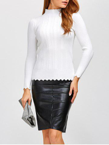 Outfit High Neck Scalloped Sweater