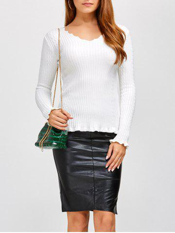 Chic Flounce Ribbed V Neck Sweater