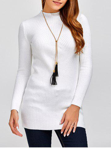 Outfit High Neck Long Sleeve Ribbed Jumper Dress WHITE ONE SIZE