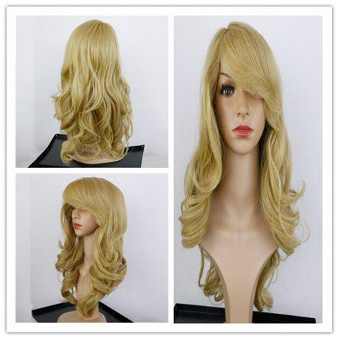 Best Charming Long Synthetic Blonde Capless Fluffy Wavy Wig For Women GOLDEN