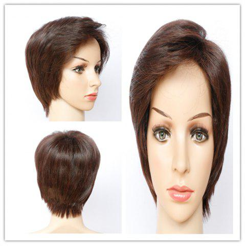 Hot Fashion Straight Dark Brown Side Bang Capless Short Synthetic Wig For Women