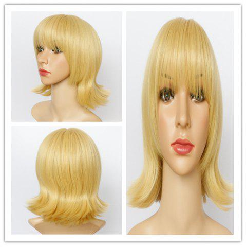 Cheap Vogue Medium Golden Synthetic Straight Layered Full Bang Wig For Women
