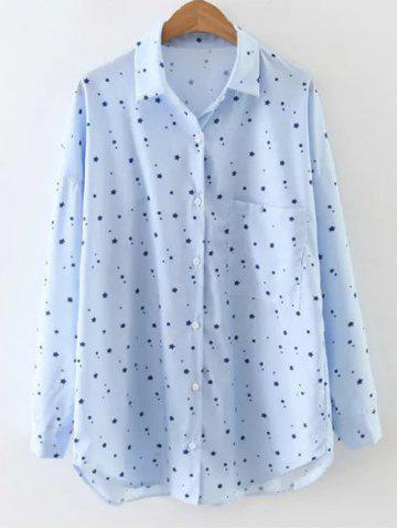 Outfit Pocket Star Print Fitting Shirt