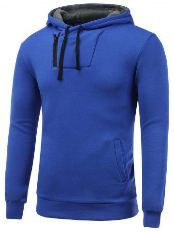 Side Zip Up Drawstring Pullover Hoodie - BLUE 2XL
