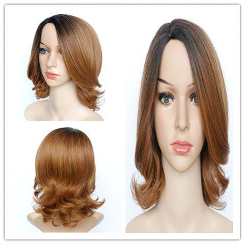 Cheap Graceful Medium Fluffy Mixed Color Wavy Side Parting Women's Synthetic Hair Wig COLORMIX