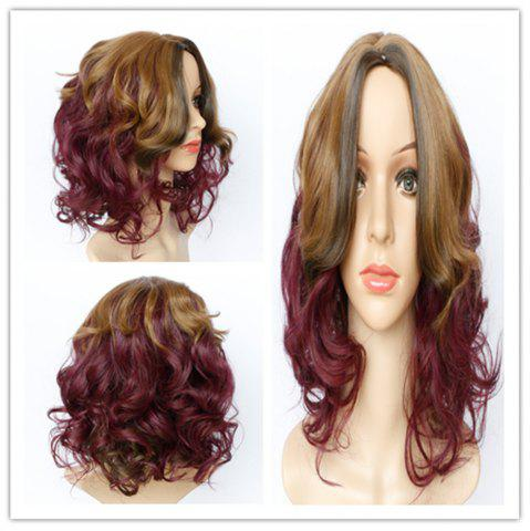 Unique Fashion Blonde Mixed Purple Synthetic Shaggy Wave Long Wig For Women COLORMIX