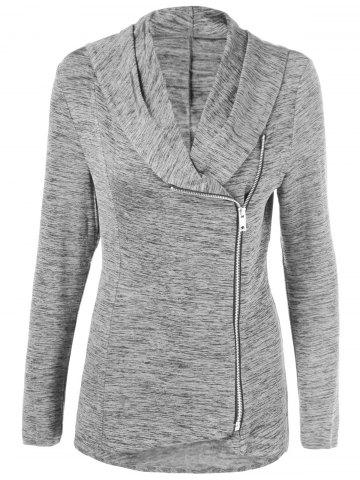 Sale Plus Size Side Zipper Heather Long Jacket