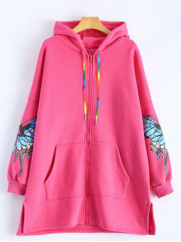 Unique Butterfly Print Pocket Design Zip Up Hooded Coat ROSE MADDER 2XL