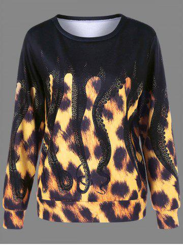 Outfits Leopard and Octopus Print Sweatshirt YELLOW/BLACK M