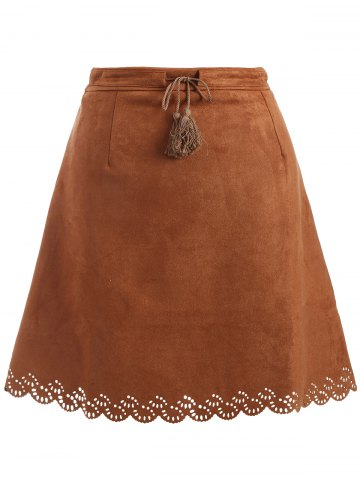 Online Plus Size Tie Front Suede Scalloped Skirt BROWN 4XL
