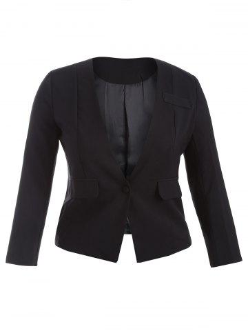 Plus Size One Button Blazer - Black - 3xl