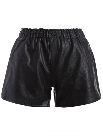 Affordable Plus Size Button Decorated Faux Leather Shorts BLACK 5XL