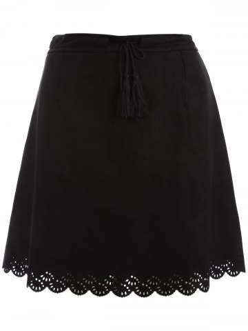 Affordable Plus Size Tie Front Suede Scalloped Skirt BLACK 2XL