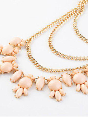 Hot Faux Gem Pendant Layered Sweater Chain - PINK  Mobile