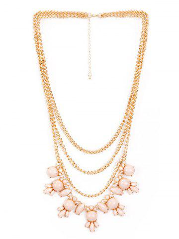 Buy Faux Gem Pendant Layered Sweater Chain PINK