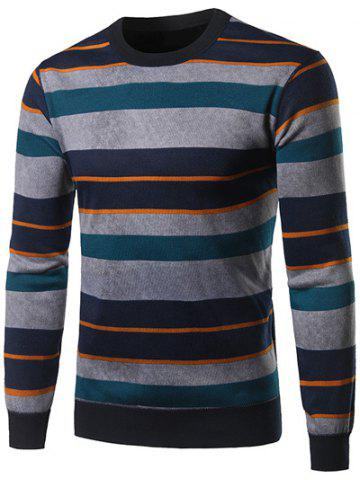 Cheap Crew Neck Color Block Spliced Stripe Sweater