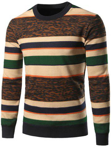 Affordable Crew Neck Color Block Leopard Spliced Stripe Sweater COLORMIX 3XL