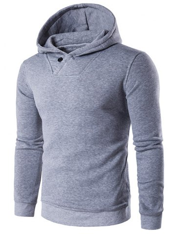 Trendy Button Embellished Hooded Hoodie LIGHT GRAY 2XL