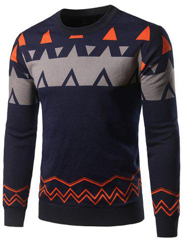 Fashion Crew Neck Waviness and Geometric Graphic Sweater