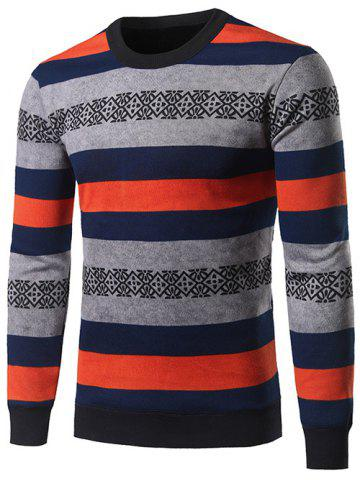 Crew Neck Color Block Stripe and Geometric Pattern Sweater - COLORMIX 3XL