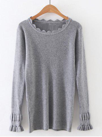 Gray One Size Long Sleeve Solid Color Tight Ribbed Sweater ...