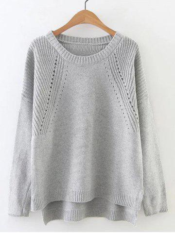 Cheap High Low Long Sleeve Hollow Out Sweater GRAY ONE SIZE