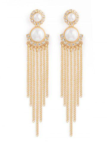 Buy Rhinestone Fake Pearl Chain Tassel Earrings - Golden