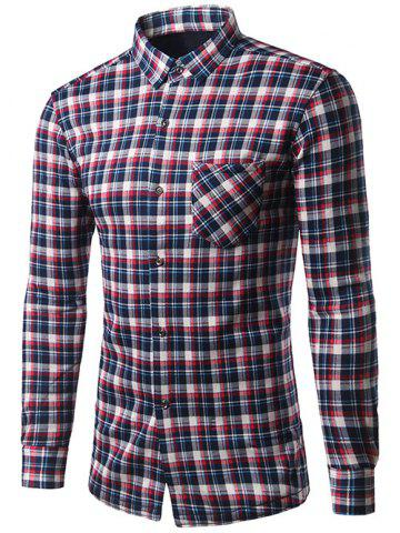 Buy Turndown Collar Thicken Color Block Checked Shirt COLORMIX 2XL