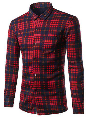 Outfit Turndown Collar Thicken Color Block Checked Pattern Shirt