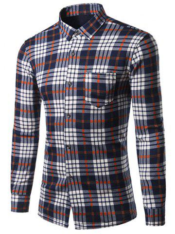 Best Turndown Collar Thicken Color Block Checked Print Shirt