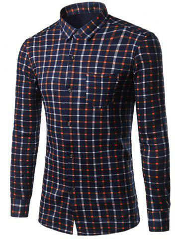 New Turndown Collar Thicken Color Block Plaid Shirt CHECKED 3XL