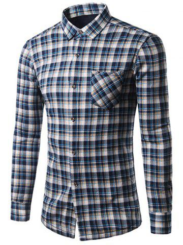 Chic Turndown Collar Thicken Tartan Print Shirt